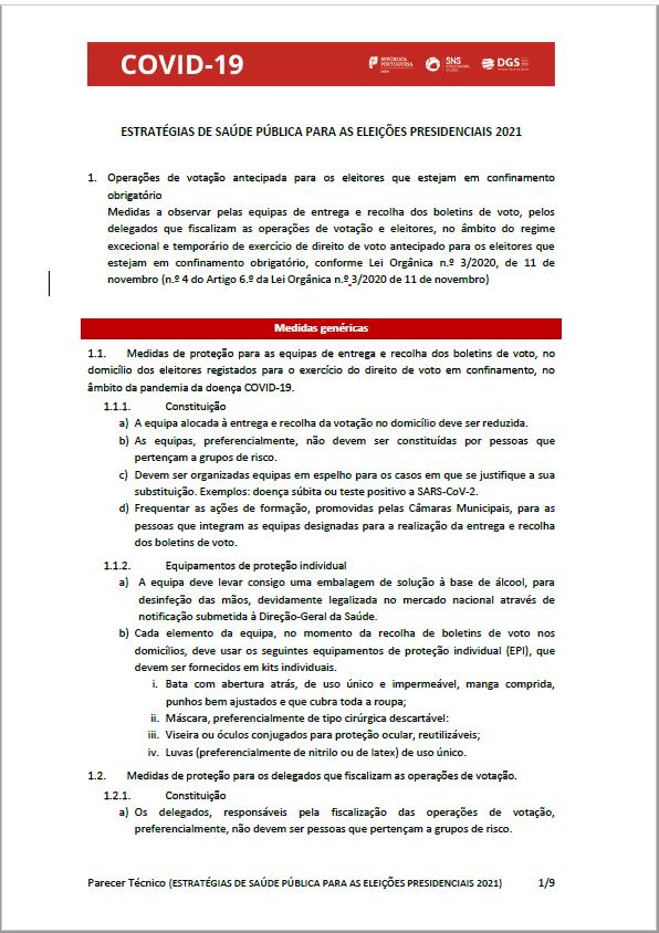 Parecer Técnico da Direção Geral de Saúde - ESTRATÉGIAS DE SAÚDE PÚBLICA PARA AS ELEIÇÕES PRESIDENCIAIS 2021